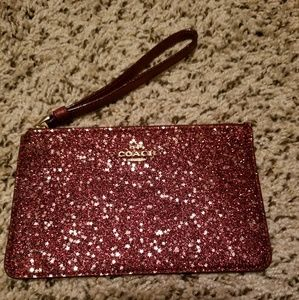 Coach glitter star sparkle wristlet red